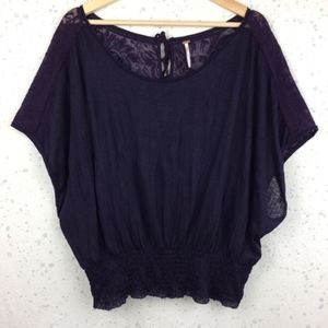 Free People Crinkle Jersey Top Lace Tie Back-Med